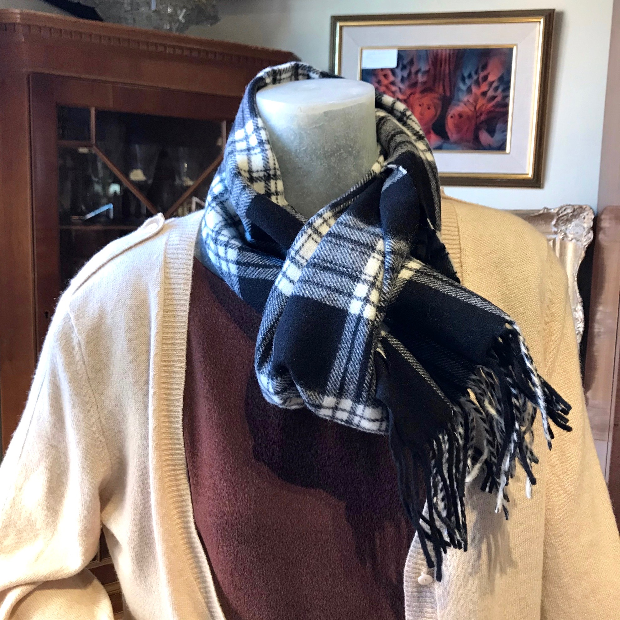 Black & White Plaid Wool Scarf