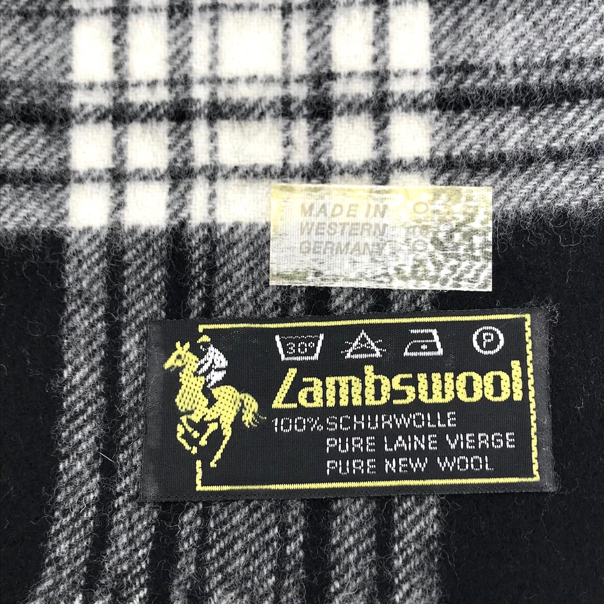 Black & White Plaid Wool Scarf