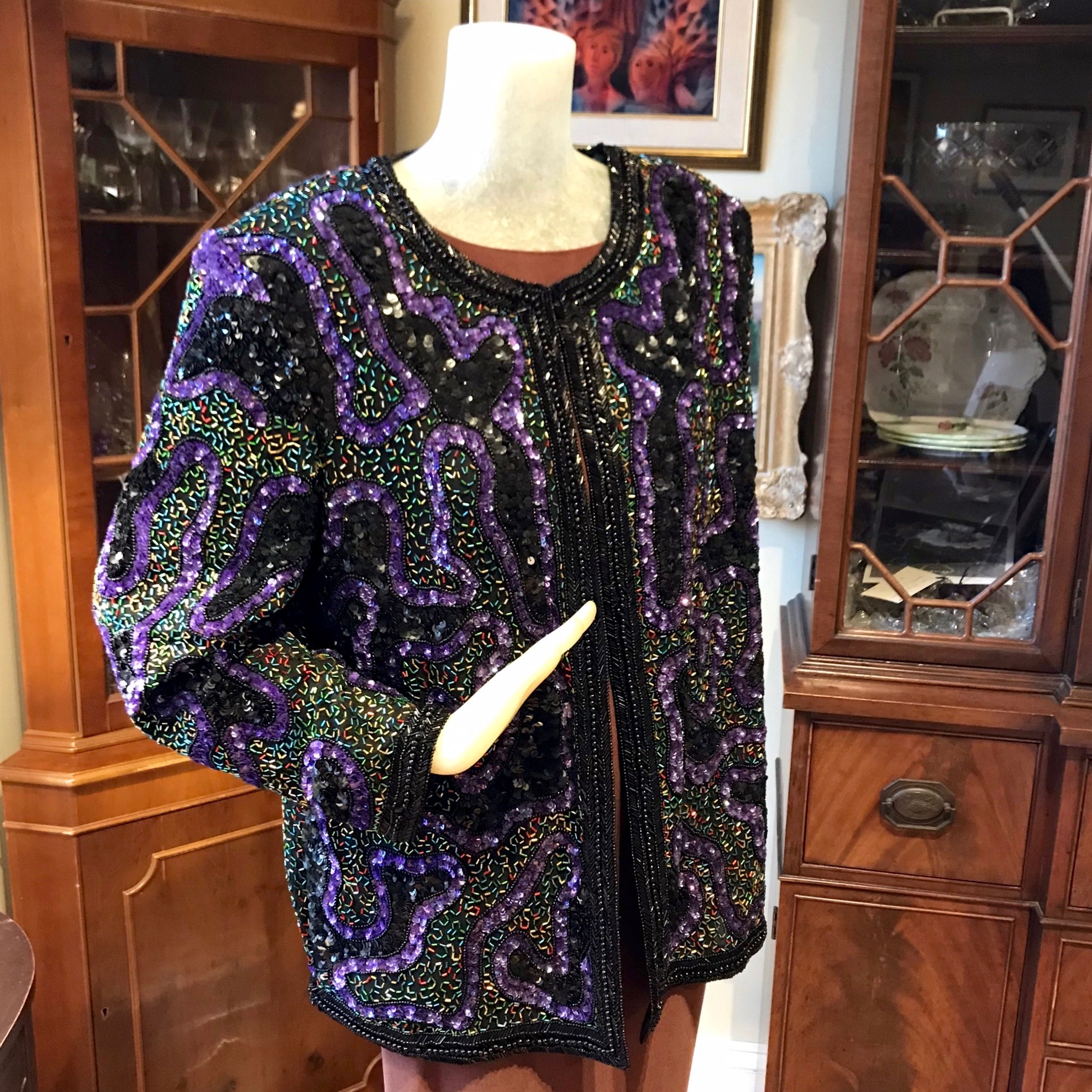 1980s Purple Beaded Jacket