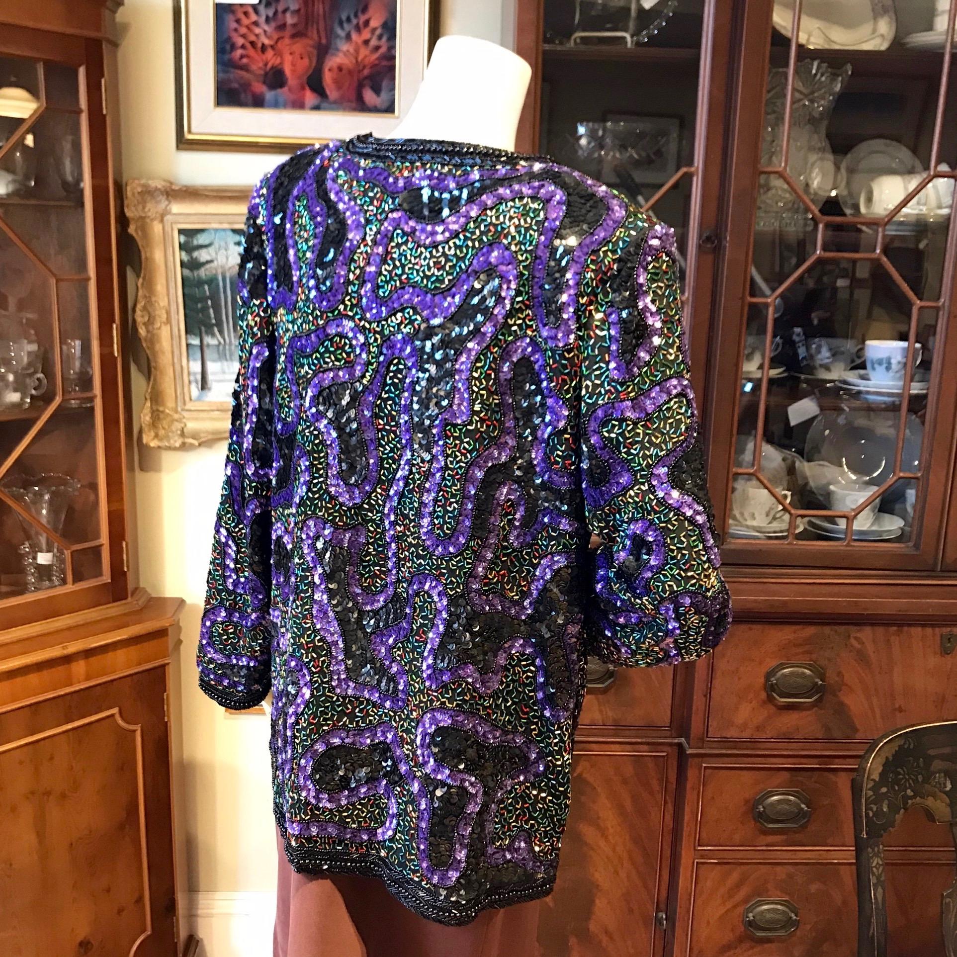 1980s Purple Beaded Jacket