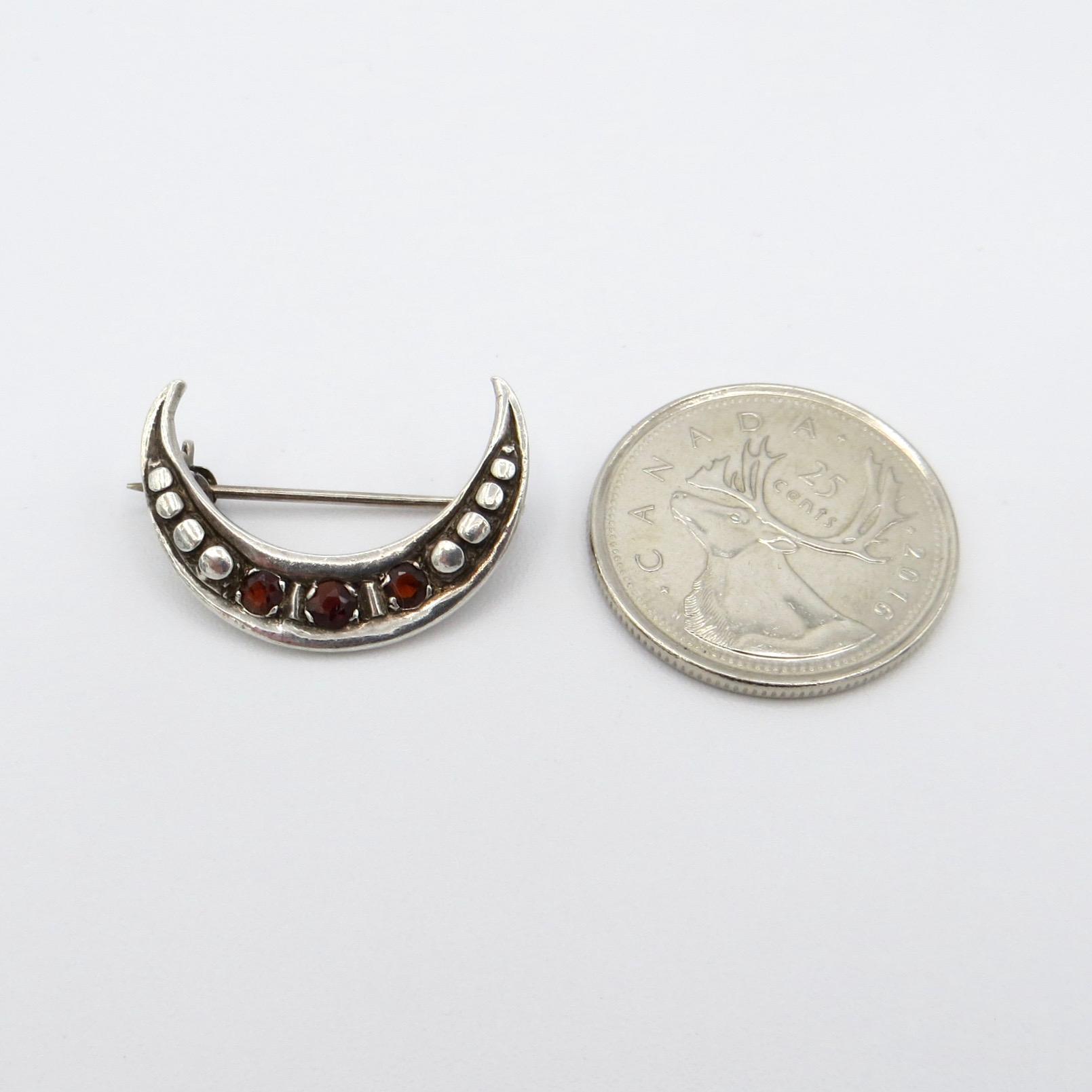 Silver & Garnet Moon Brooch
