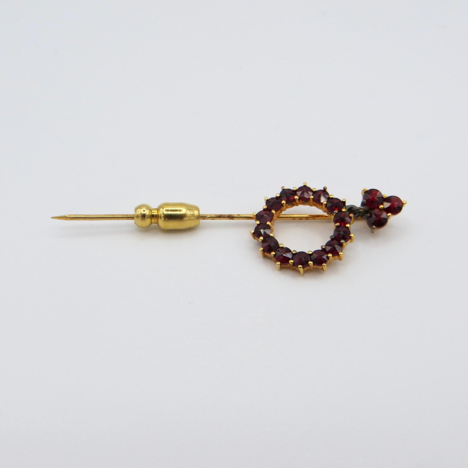 Garnet Circle Stick Pin