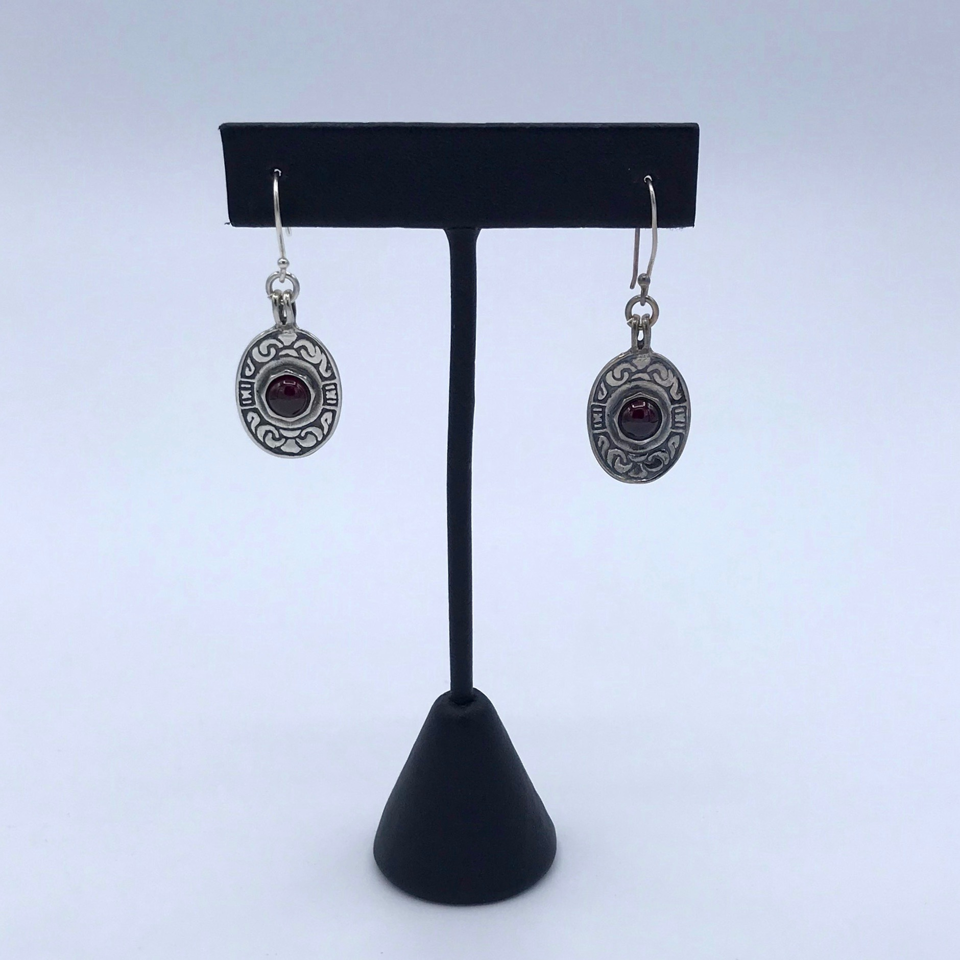Silver & Garnet Oval Earrings