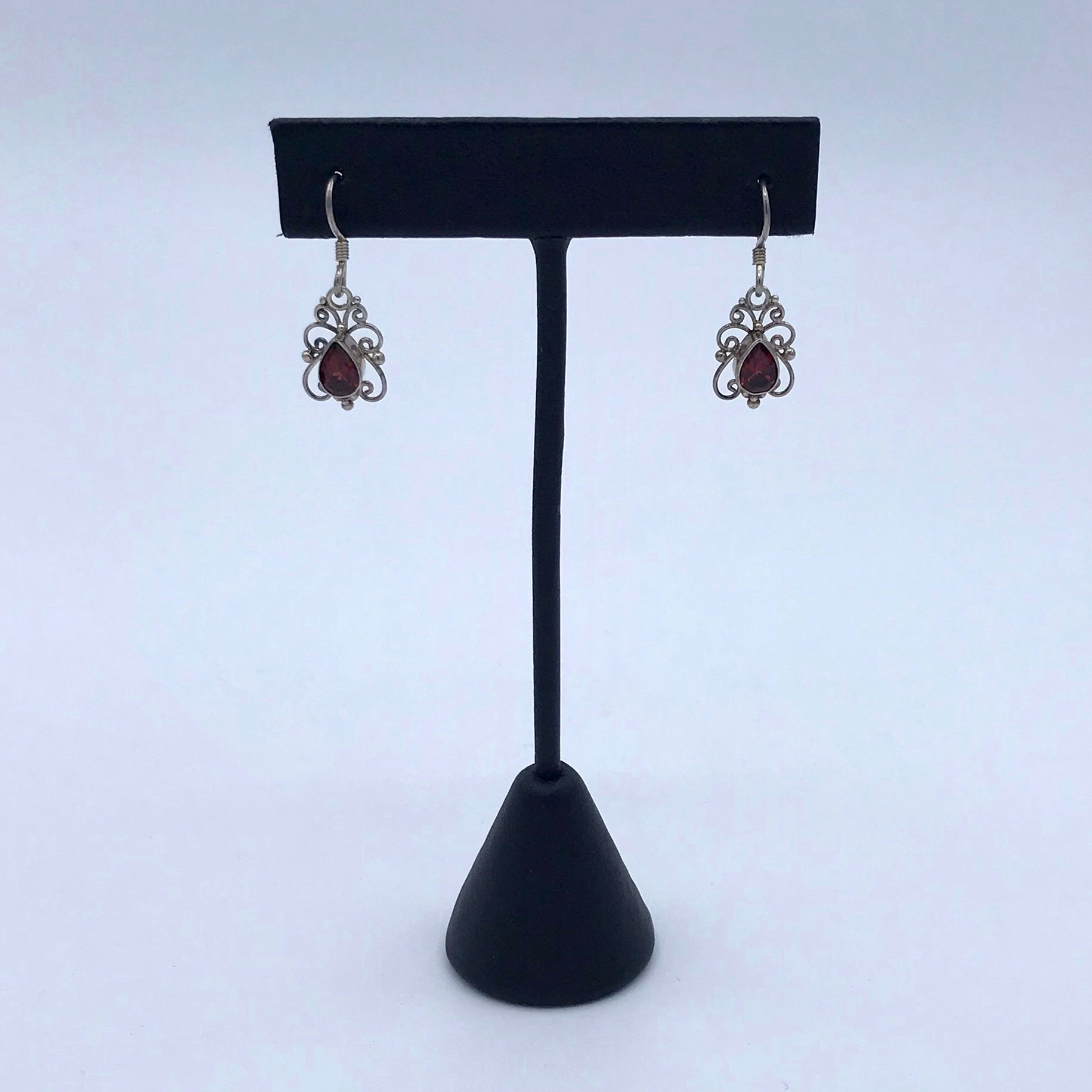 Silver & Garnet Filigree Earrings