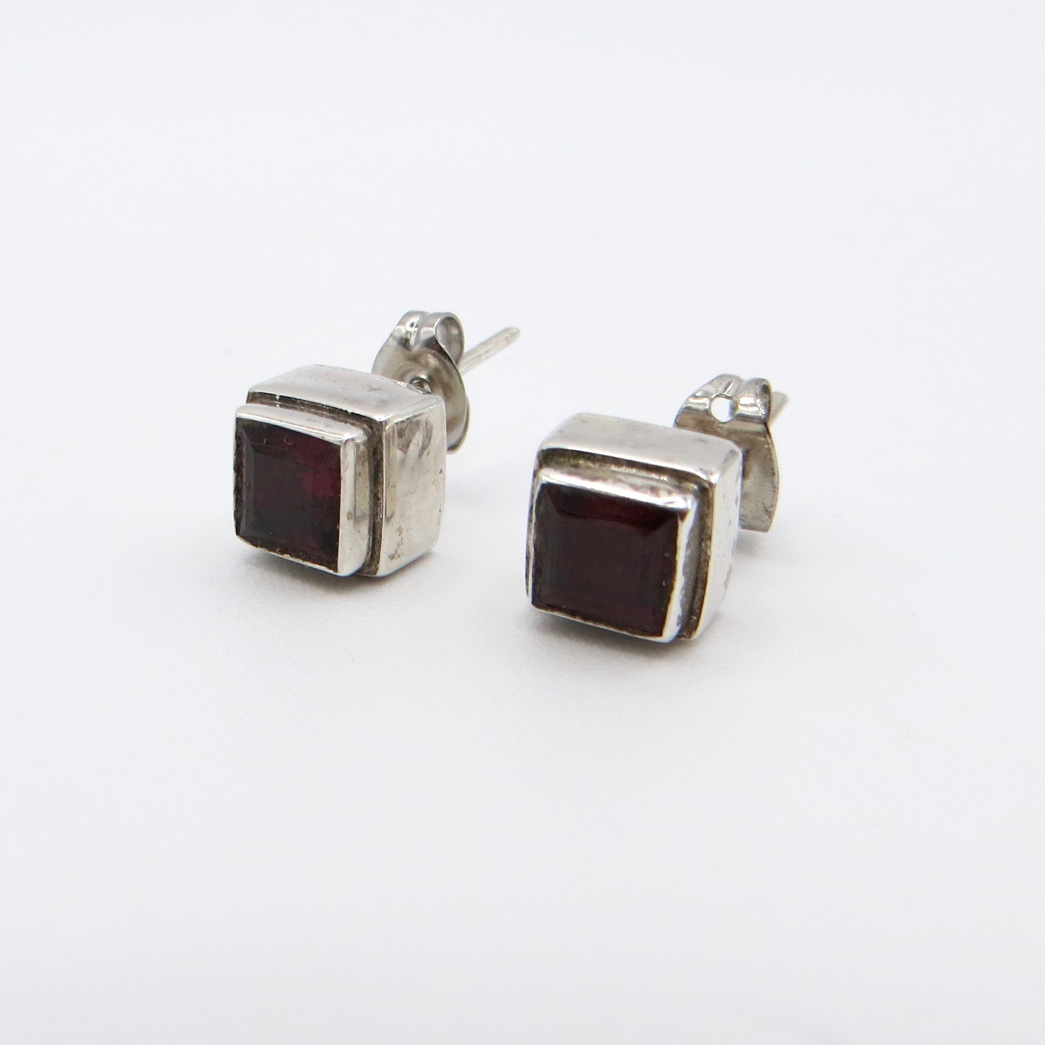 Silver & Garnet Square Stud Earrings