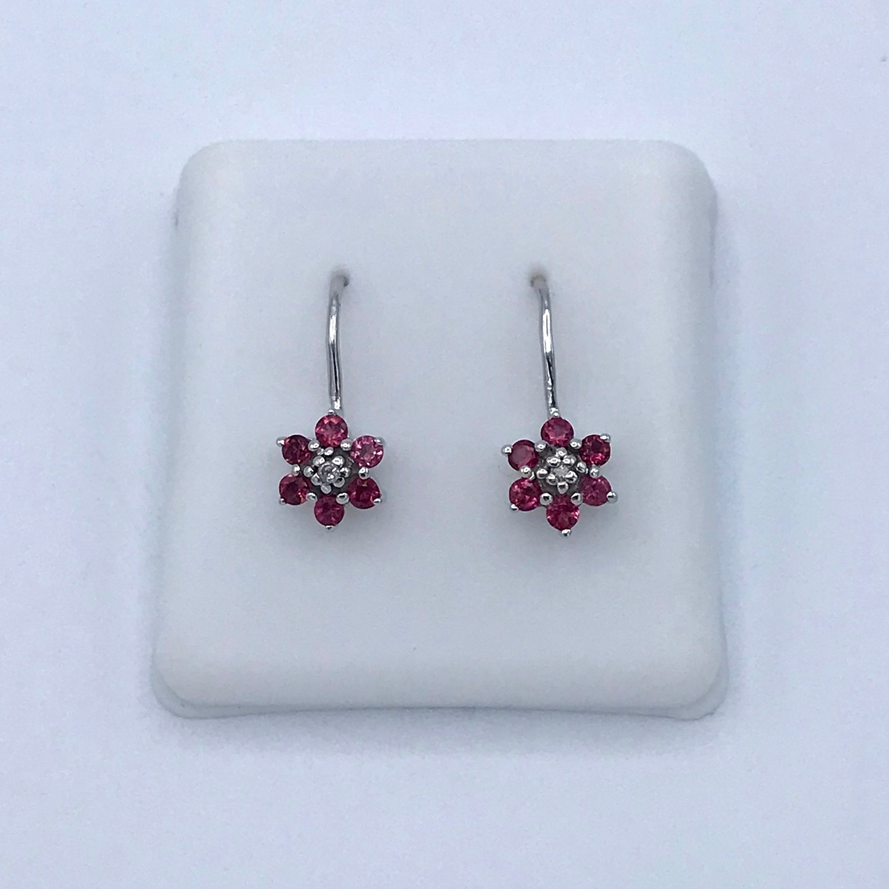 14KT & Garnet/Diamond Flower Earrings