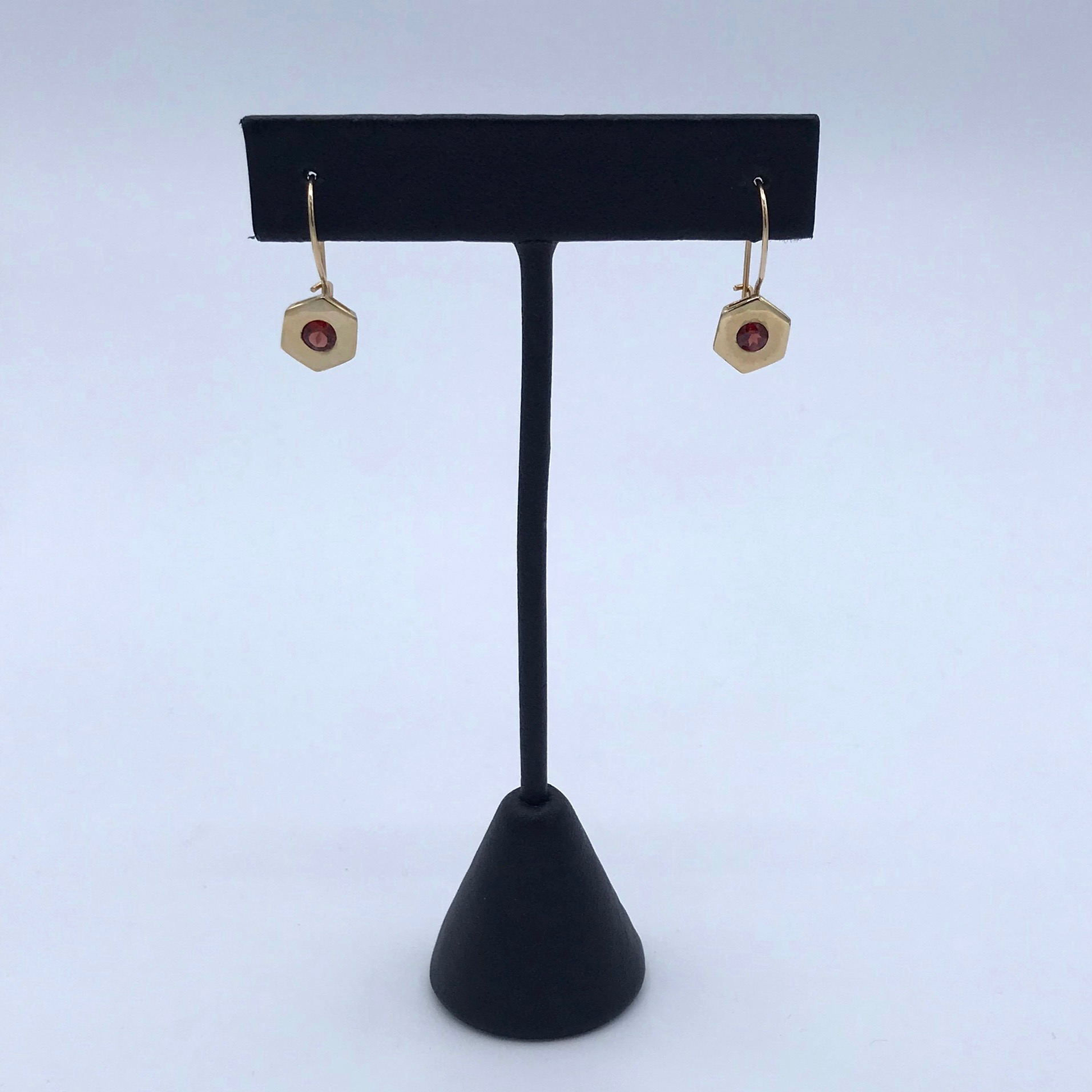 14kt Gold & Garnet Hexagon Earrings