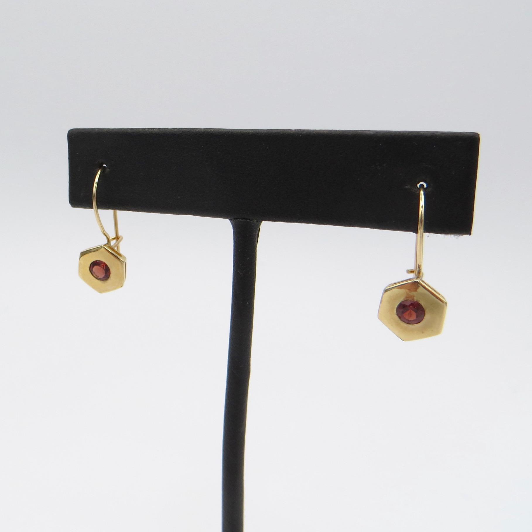 14kt Gold & Garnet Hexagon Earrings