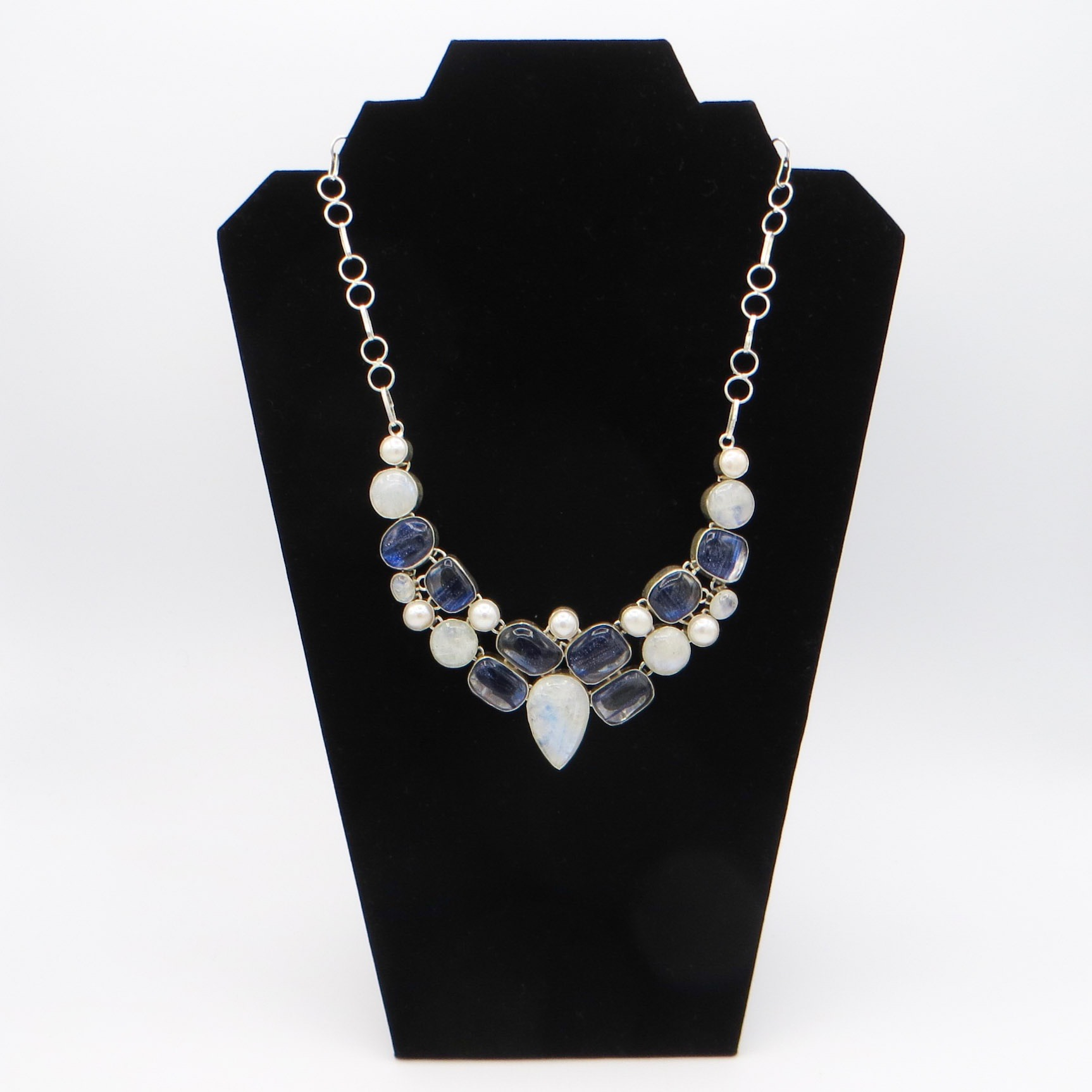 Moonstone and Murano Glass Necklace