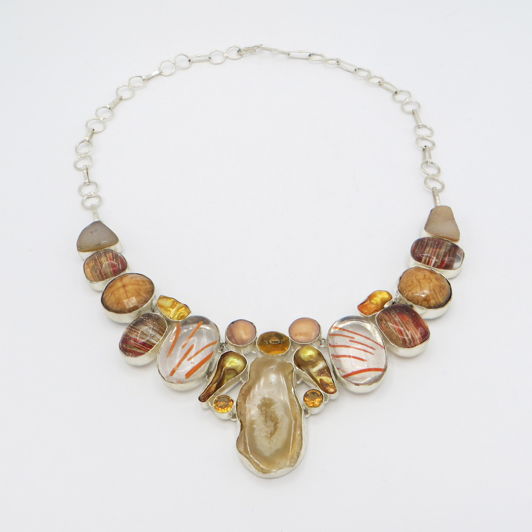 Orange Quartz, Murano Glass & Pearl Necklace