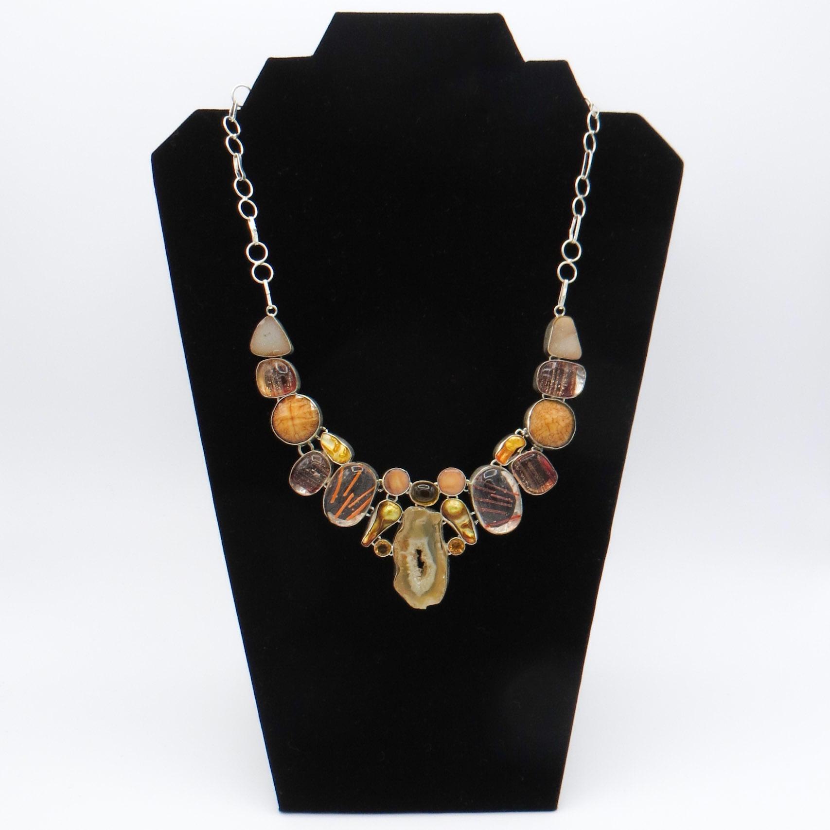 Orange Quartz, Murano Glass & Pearl Necklace