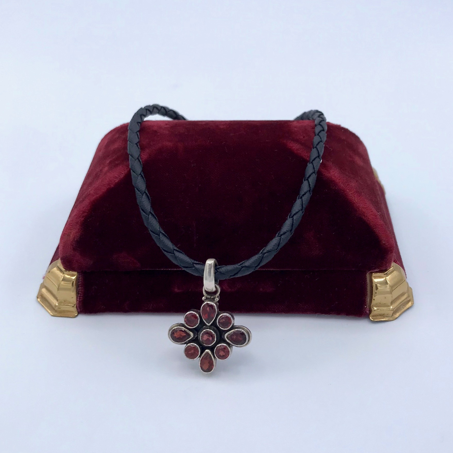 Silver & Garnet Necklace on a Leather Cord