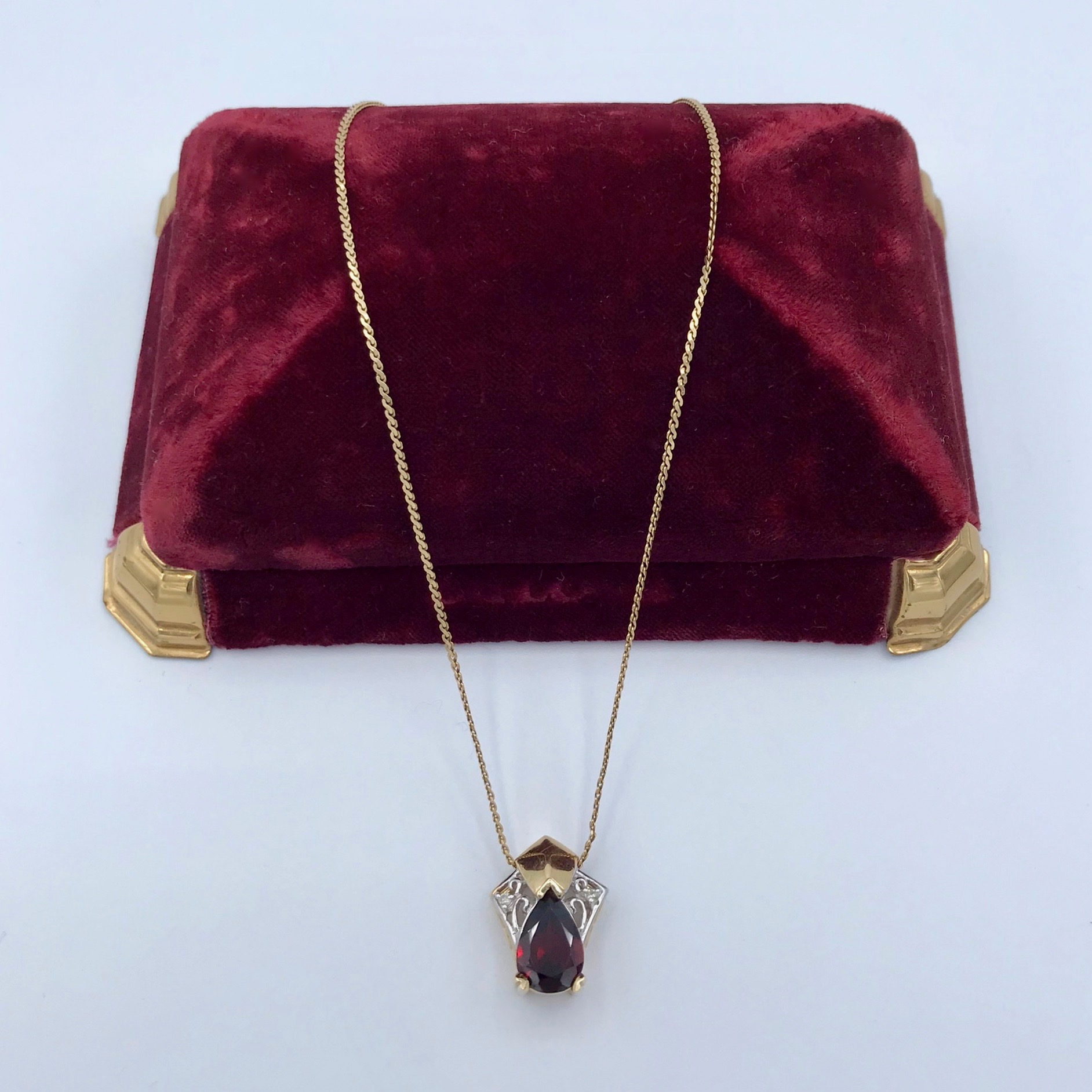 14kt Gold, Garnet & Diamond Pendant
