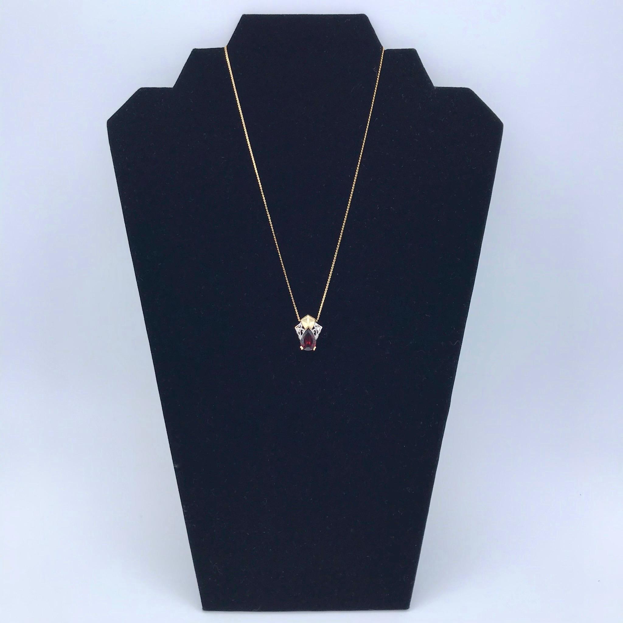 14kt Gold, Garnet & Diamond Pendant