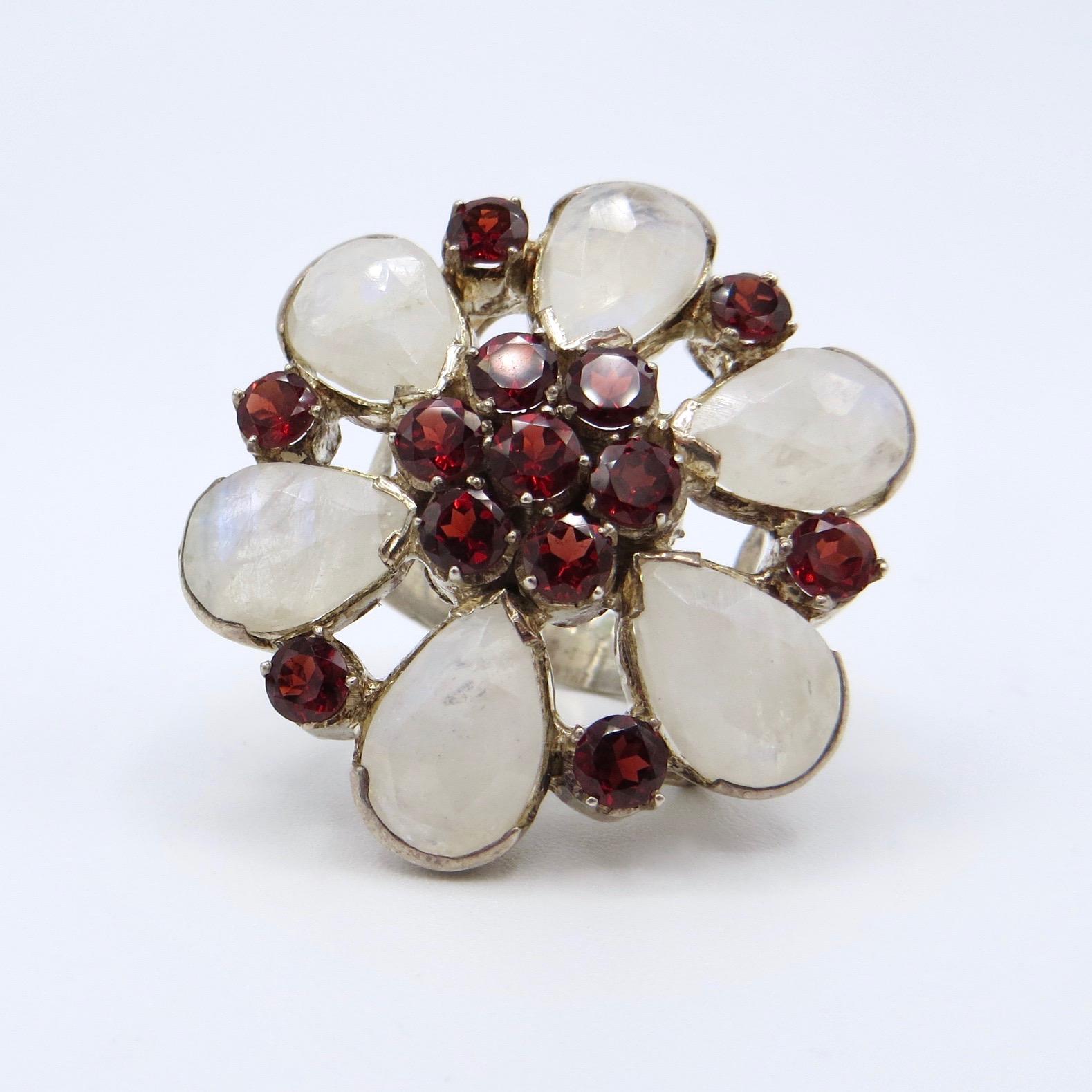 Silver, Garnet & Moonstone Floral Ring