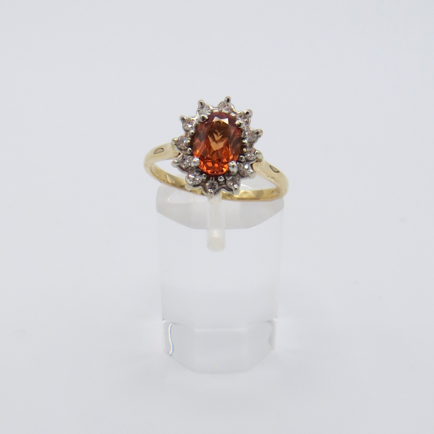 Orange Garnet & Diamond Ring
