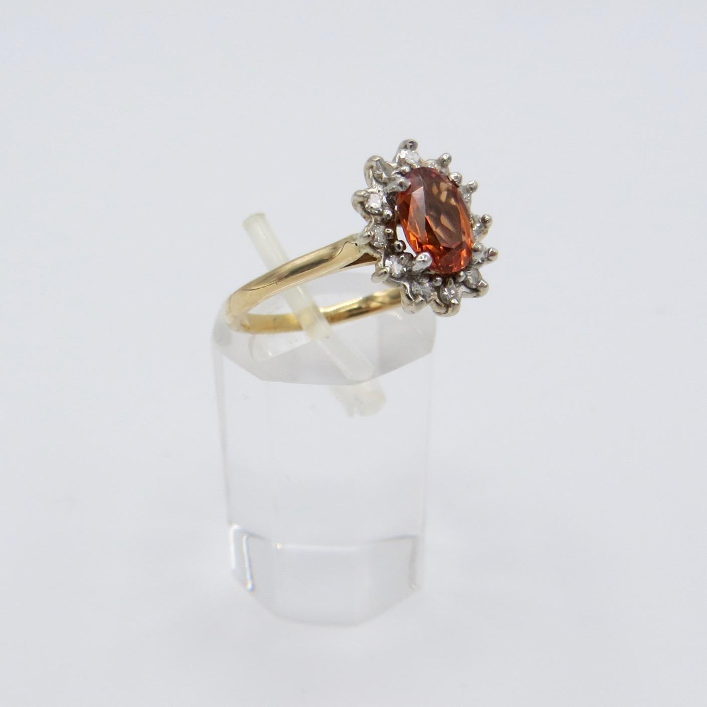Orange Garnet & Diamond Ring