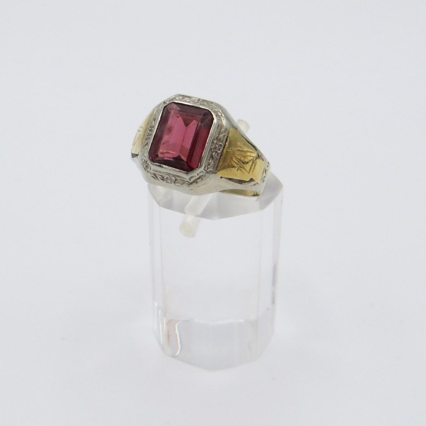 Rectangular Garnet Ring