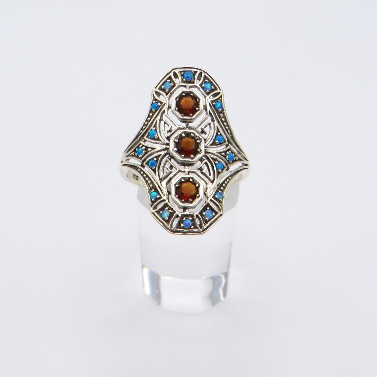 Silver, Garnet & Opal Filigree Ring