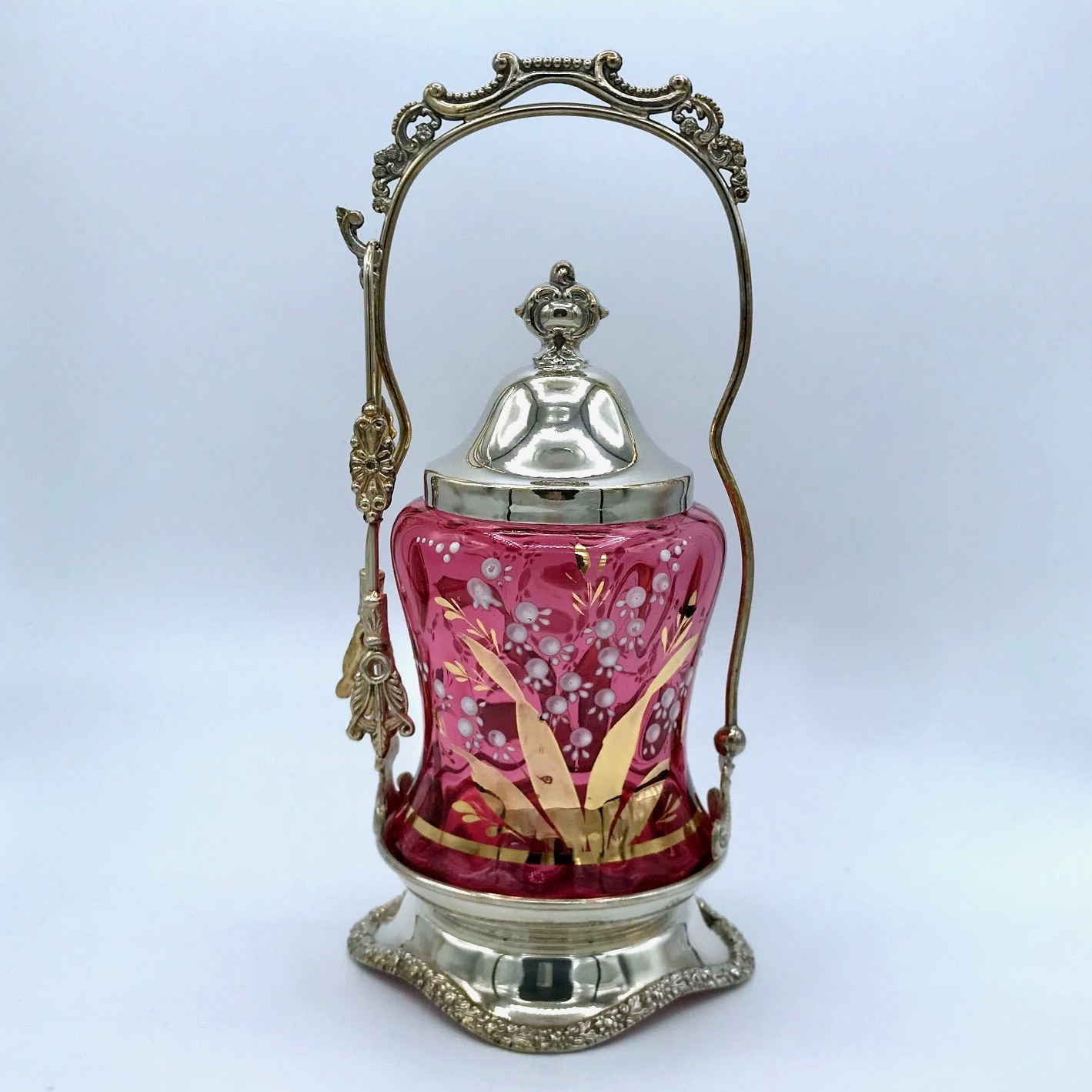 Lily of the Valley Cranberry Pickle Cruet
