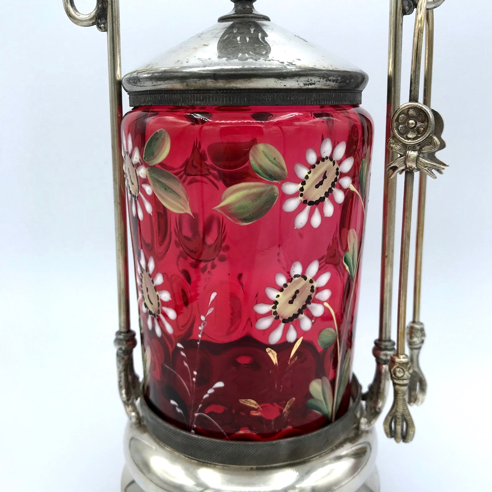 Cranberry Pickle Cruet With Daisies