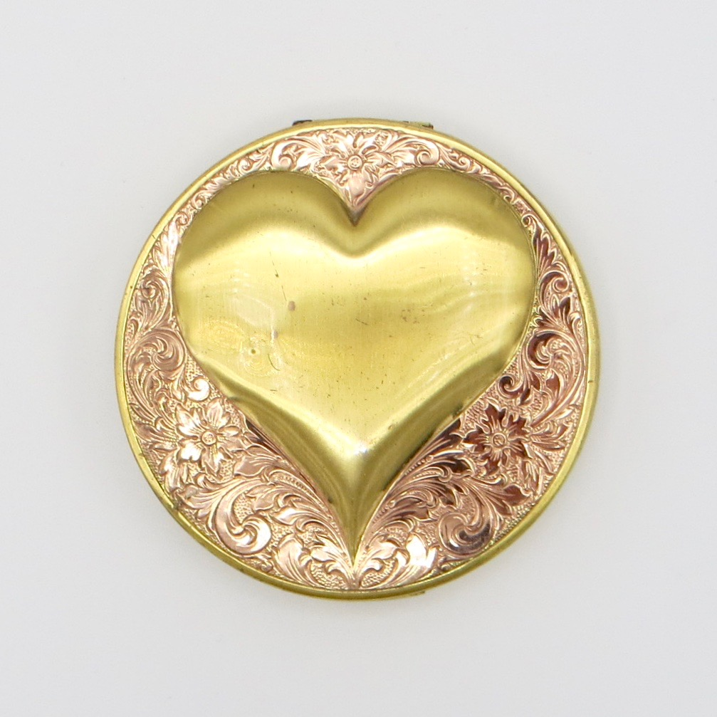 Sterling Vermeil Heart Compact