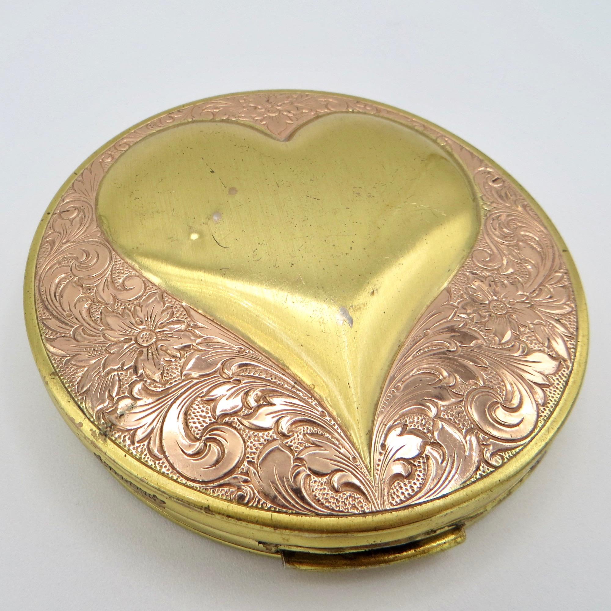 Sterling Vermeil Heart Compact