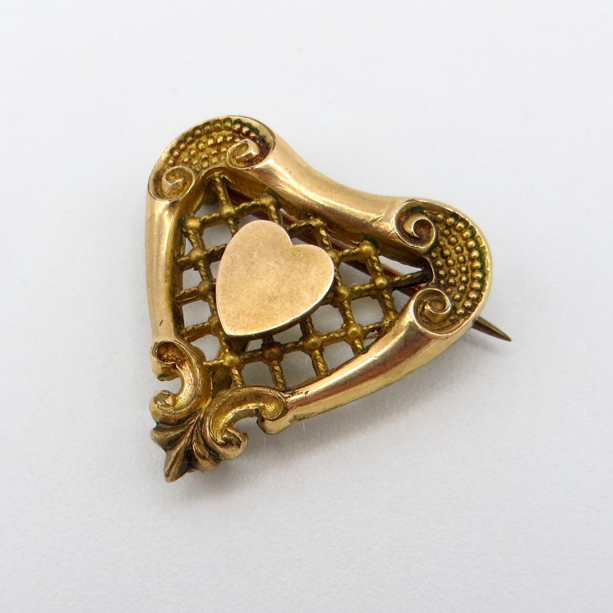 Victorian Heart Watch Pin