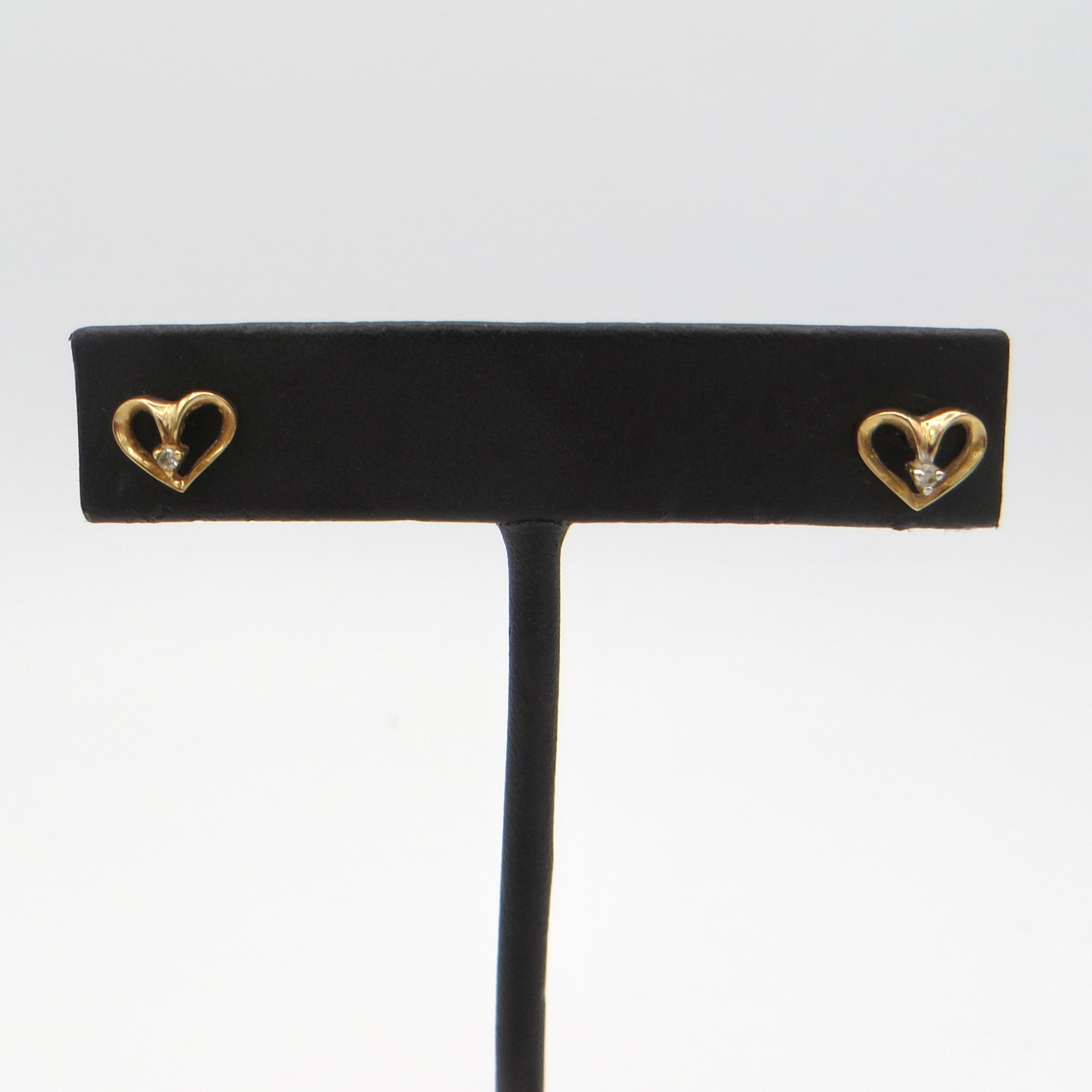 Gold & Diamond Heart Stud Earrings