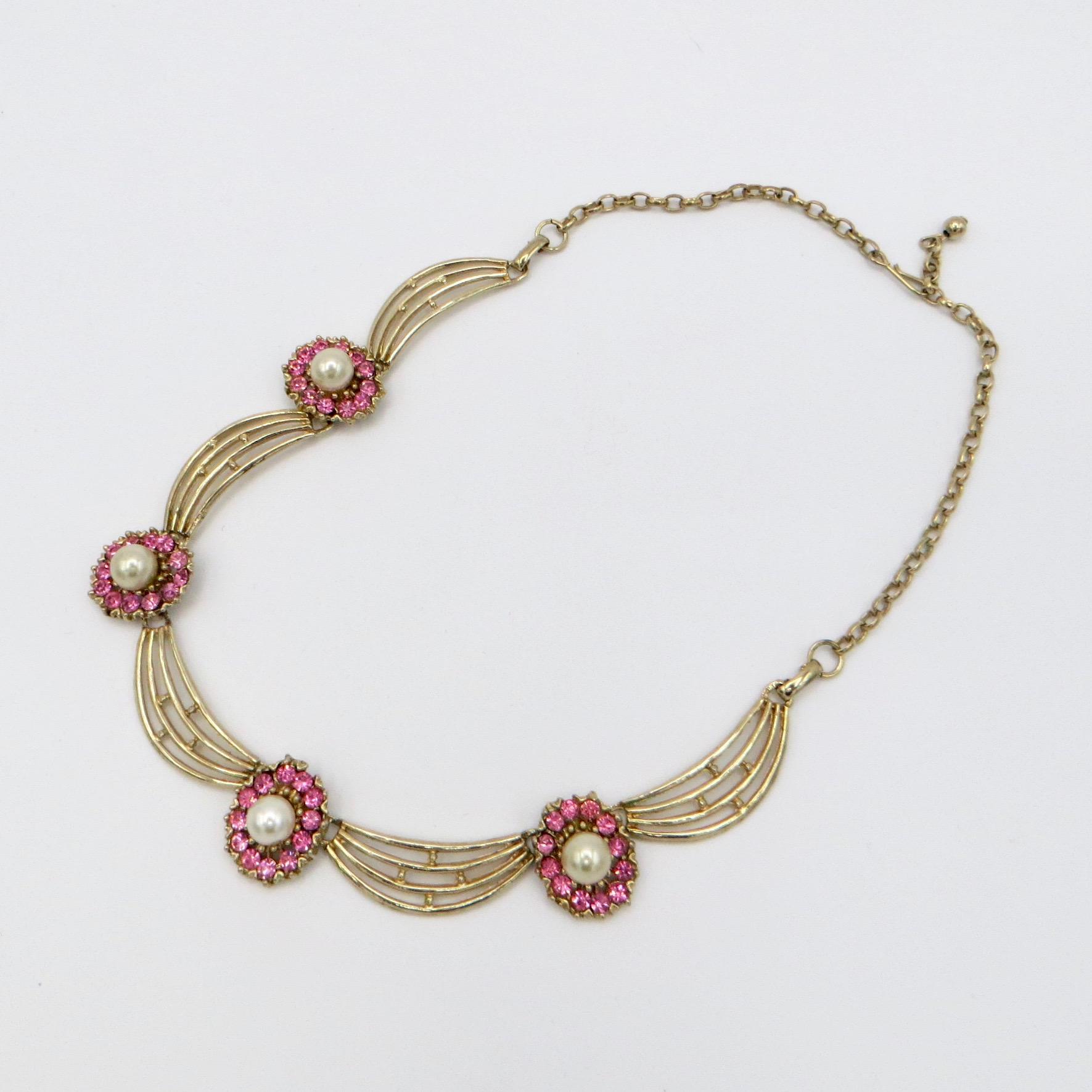 Pink & Goldtone Swag Necklace