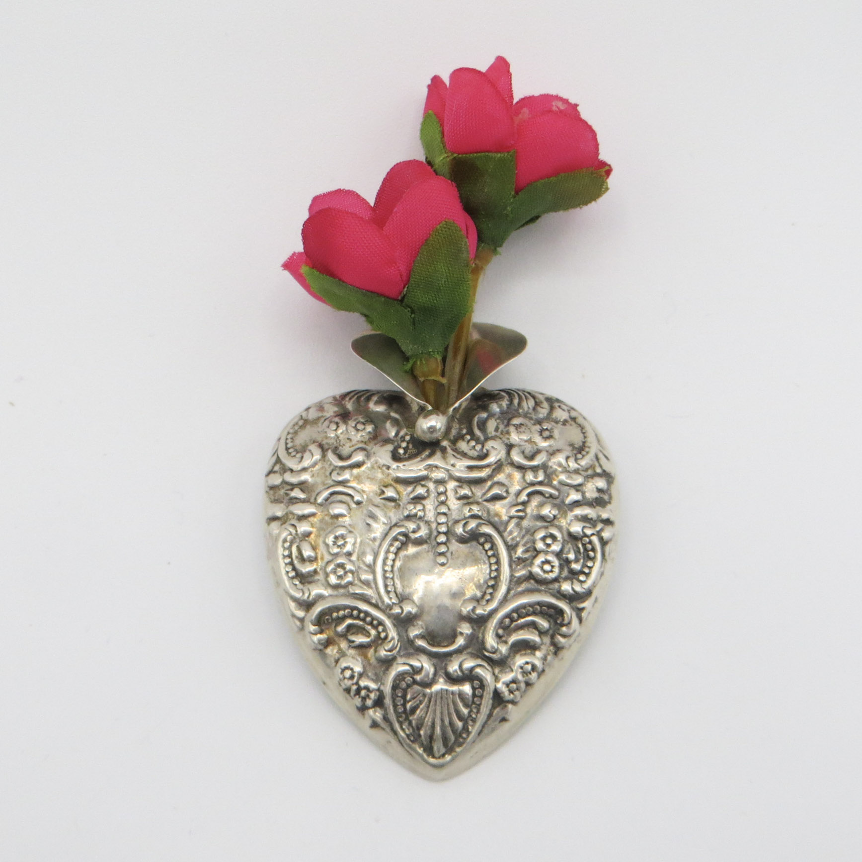 Sterling Silver Heart Boutonniere
