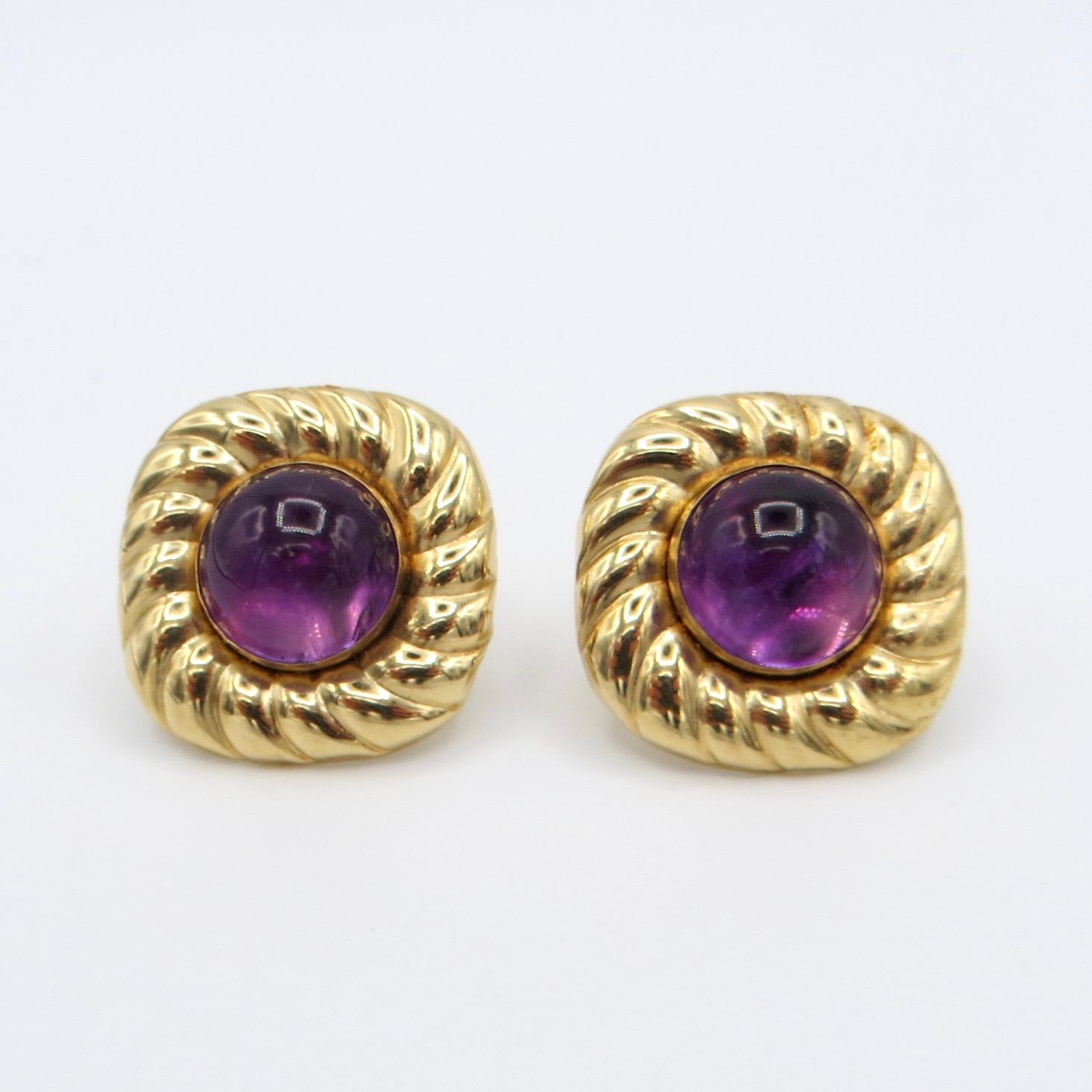 Amethyst Cabuchon Earrings