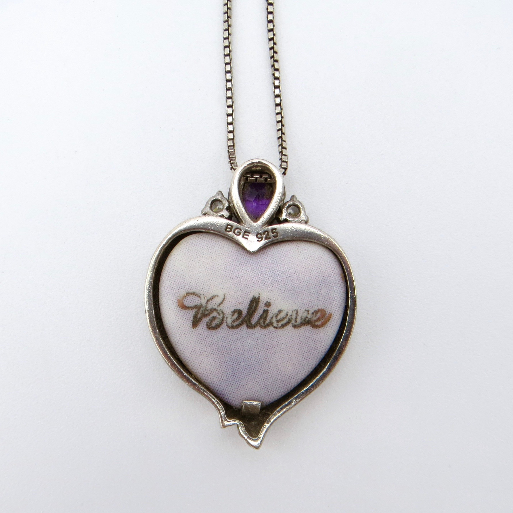 Silver & Amethyst Unicorn Heart Pendant