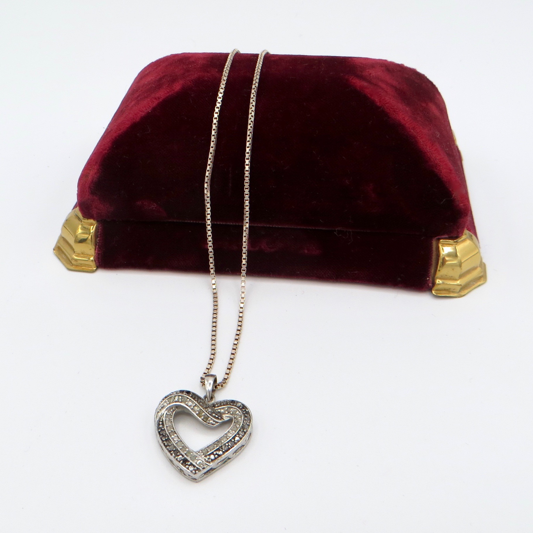 Sterling Silver & Crystal Heart Necklace
