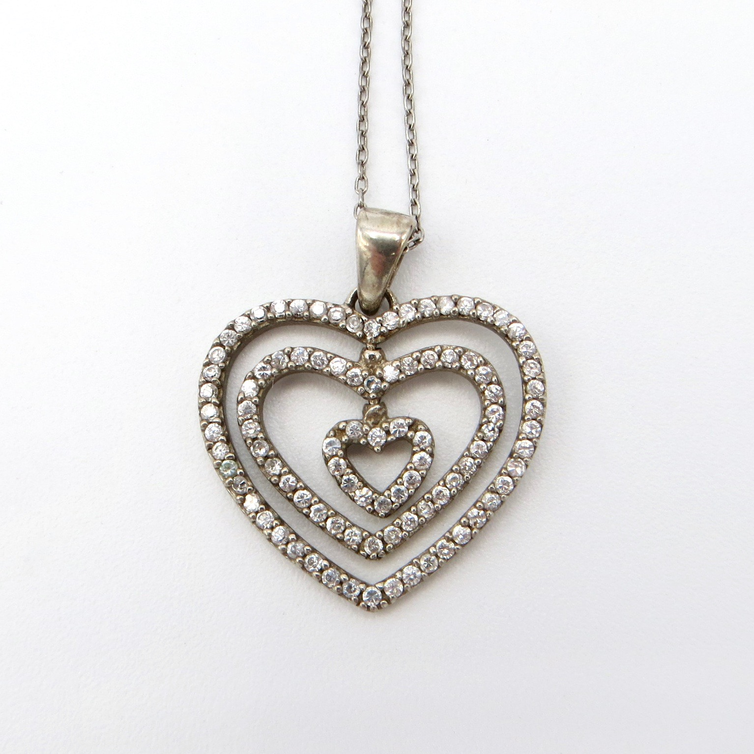 Silver & Crystal Heart Pendant
