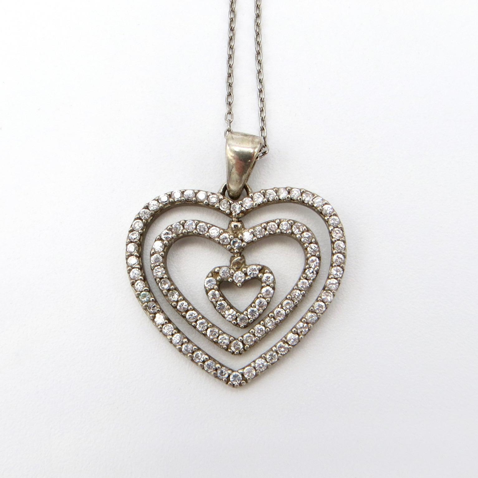 Silver & Crystal Heart Pendant