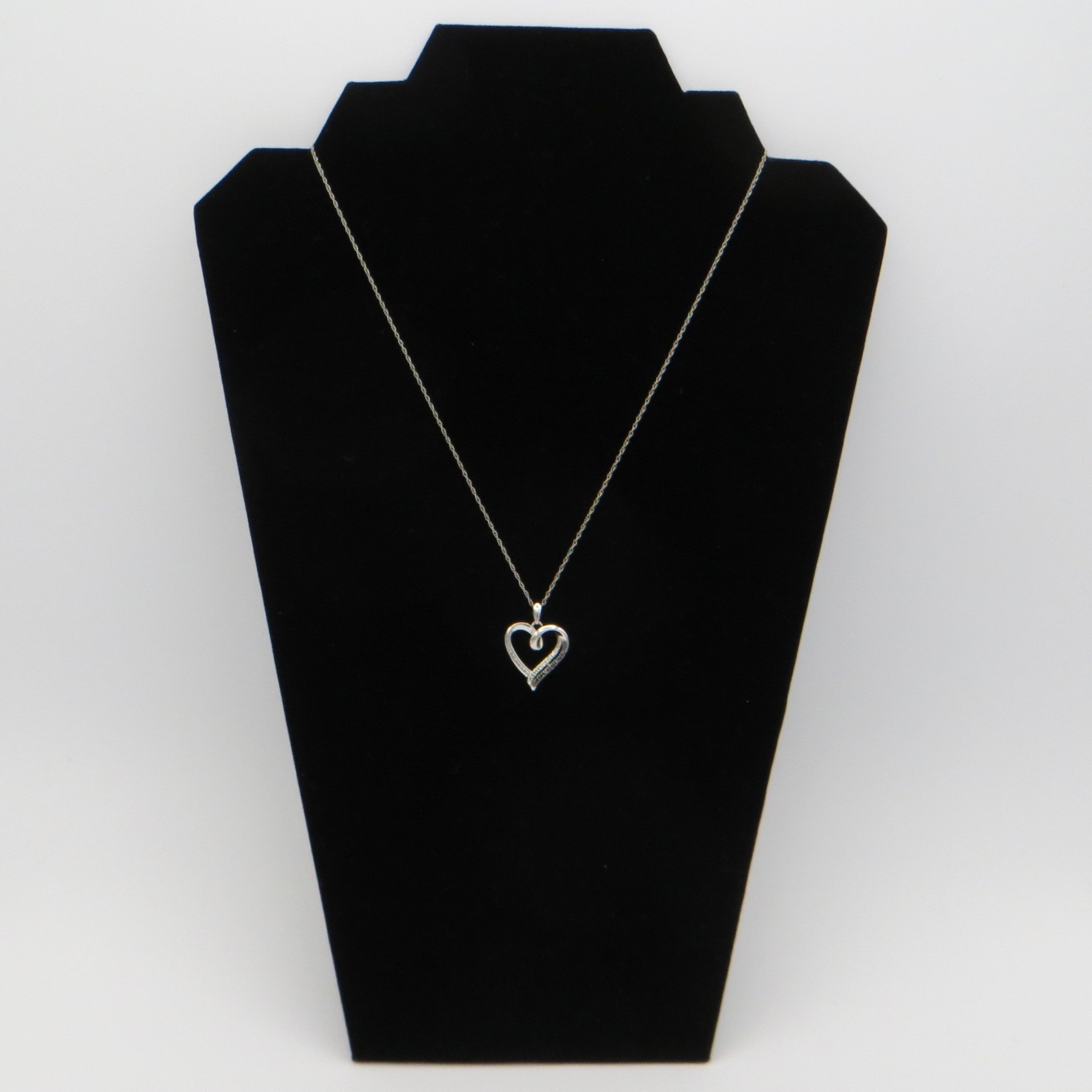 Dark & Light Silver & Crystal Heart Necklace