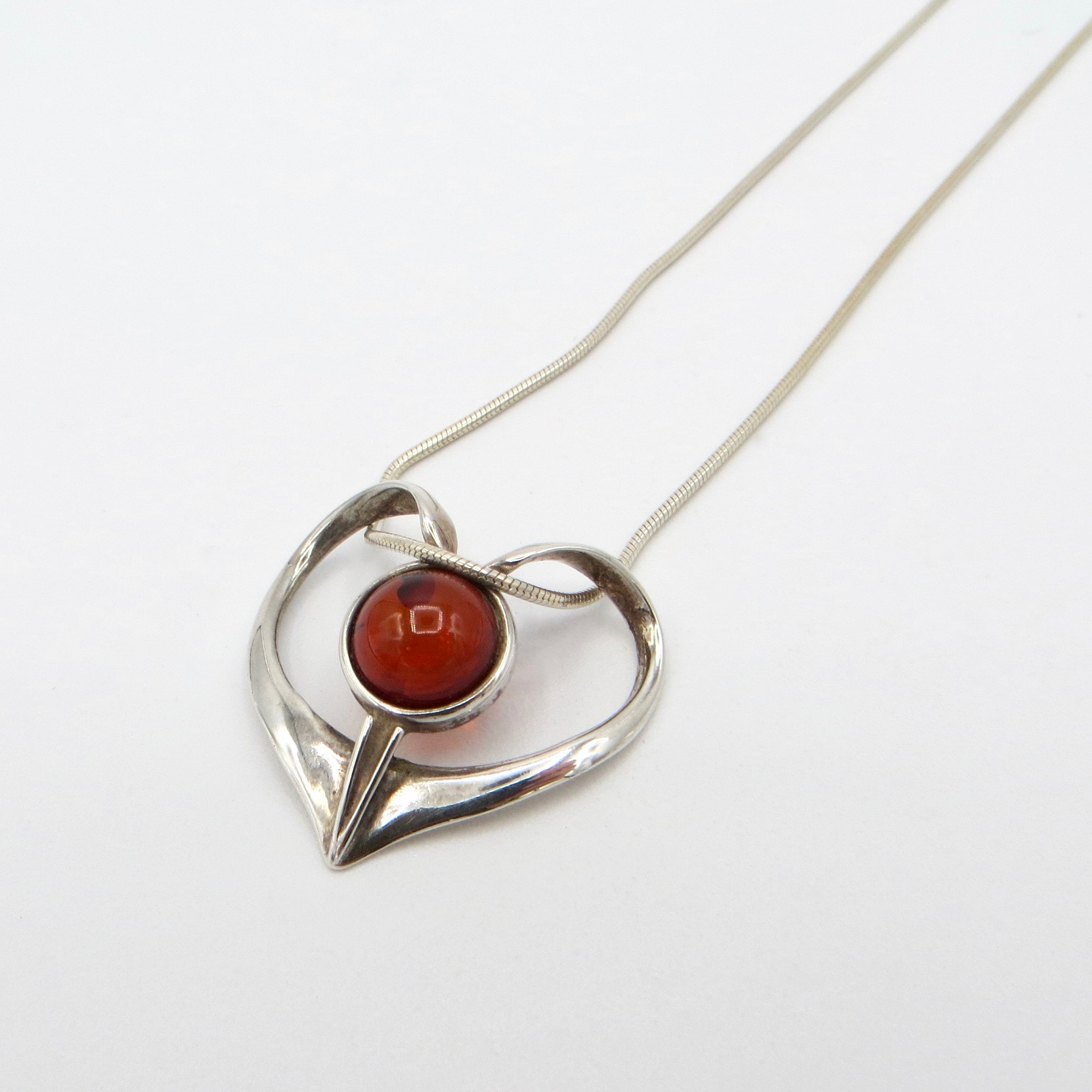 Sterling Silver & Amber Heart Necklace
