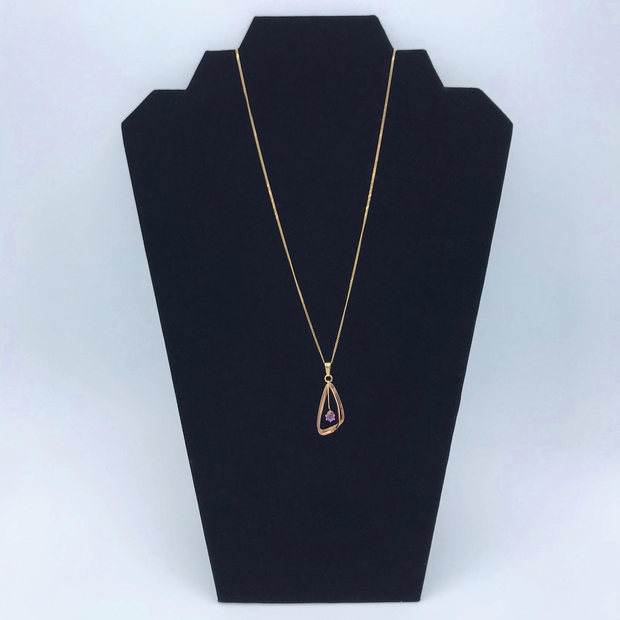 Gold & Amethyst Drop Necklace