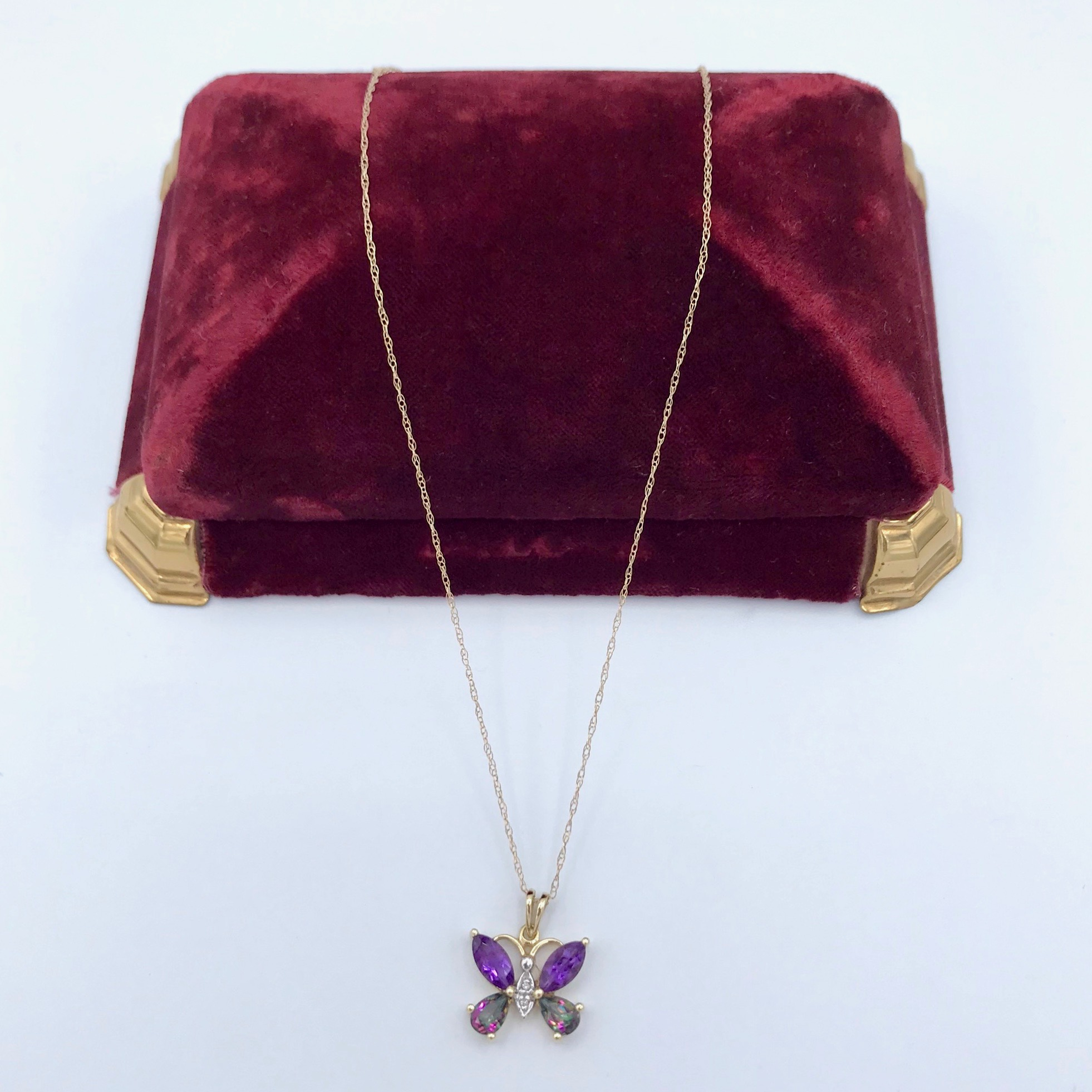 Amethyst & Mystic Topaz Butterfly Necklace