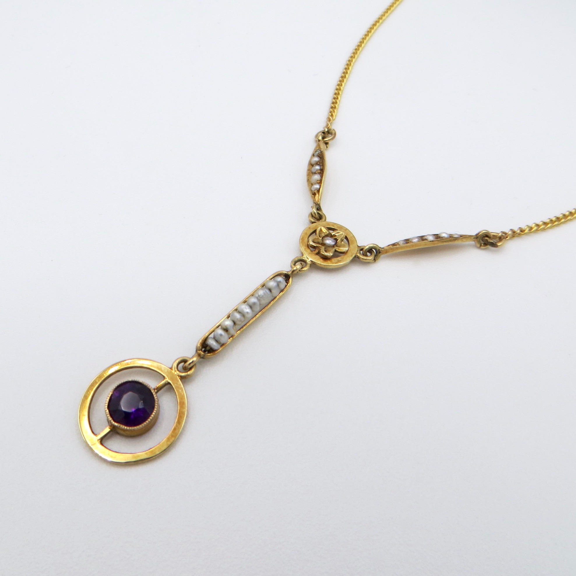 Victorian Amethyst & Pearl Necklace