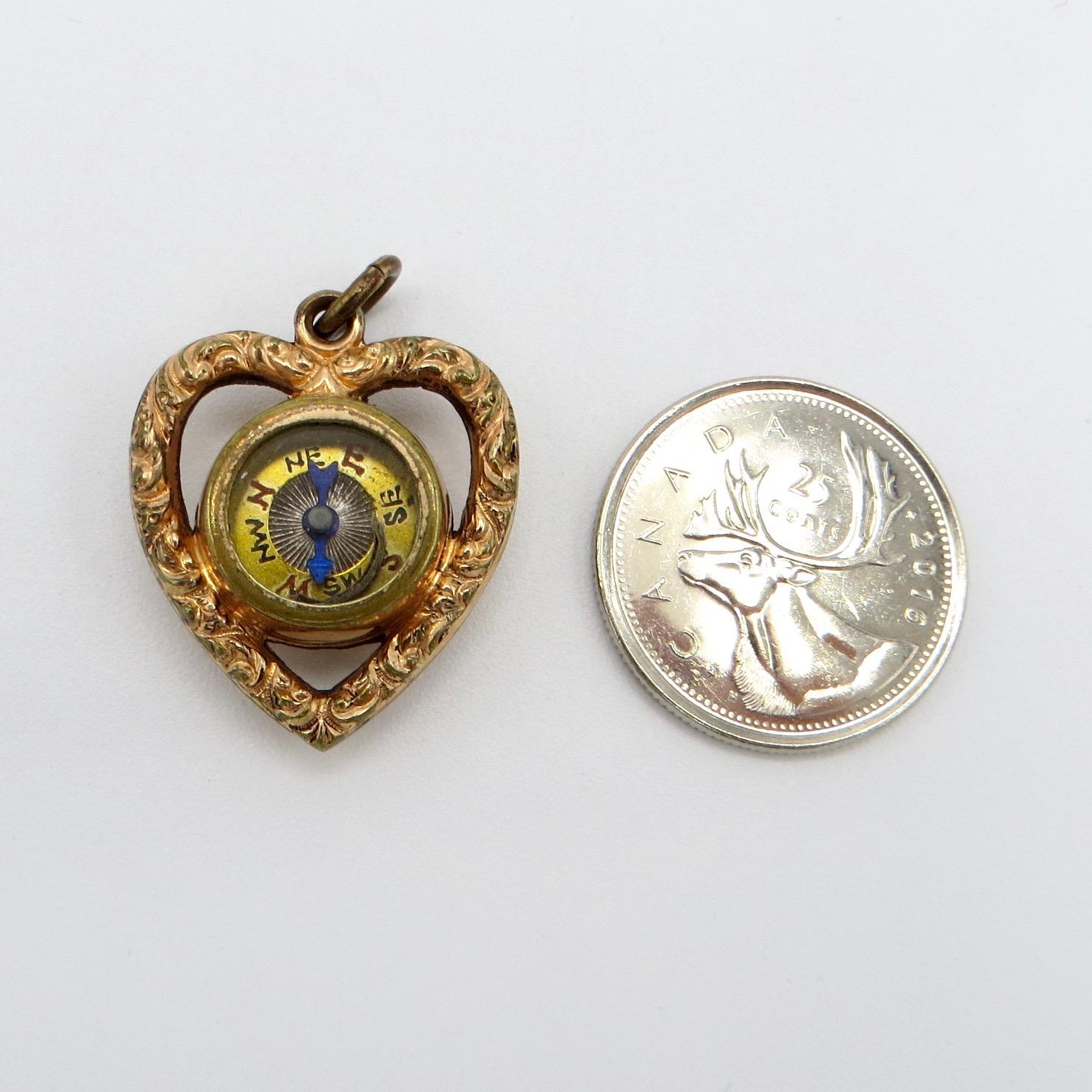 Victorian Compass & Carnelian Heart Pendant
