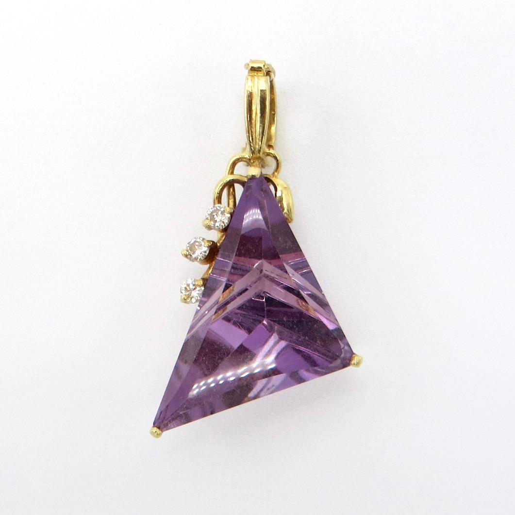 Amethyst & Diamond Triangle Pendant