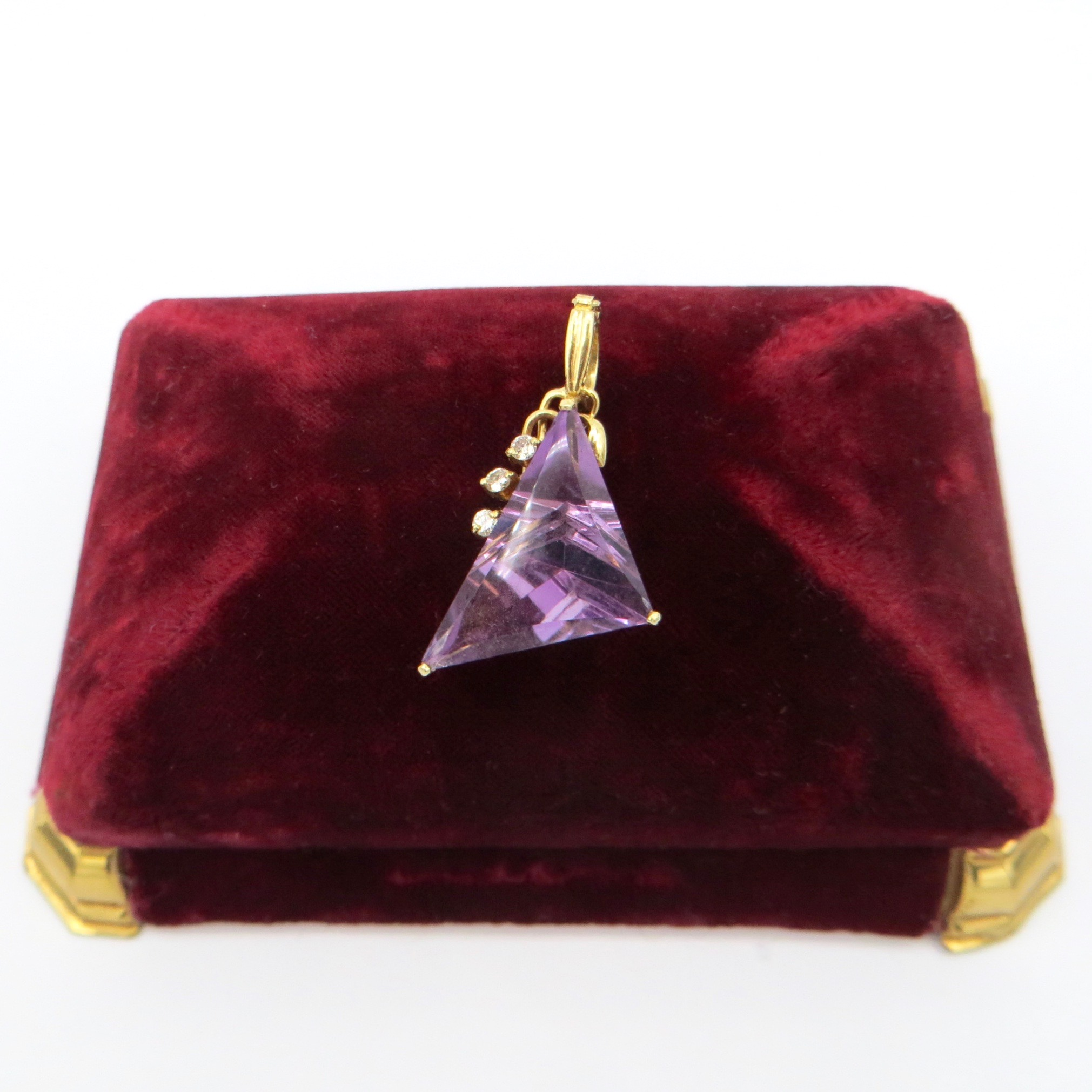 Amethyst & Diamond Triangle Pendant