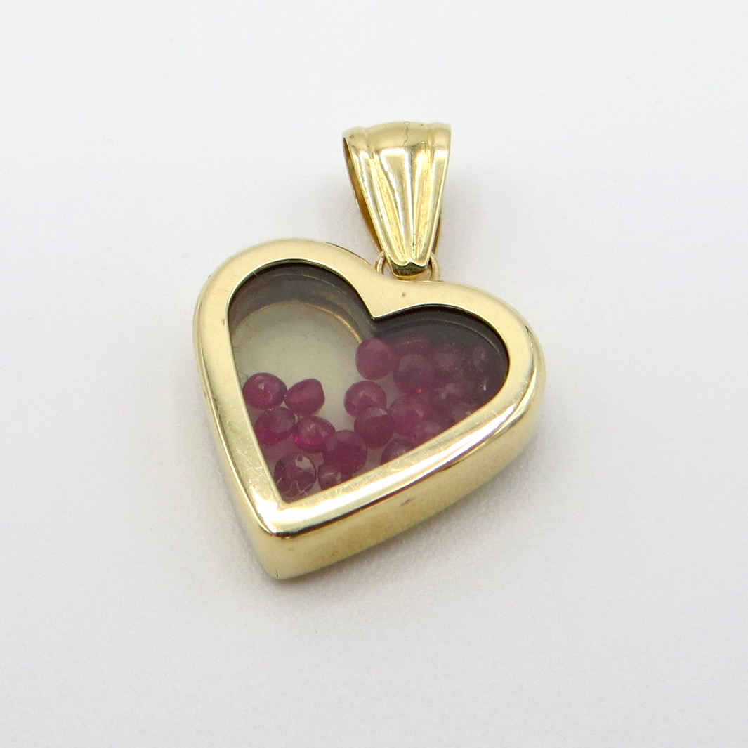 14kt Gold & Ruby Bead Heart Pendant
