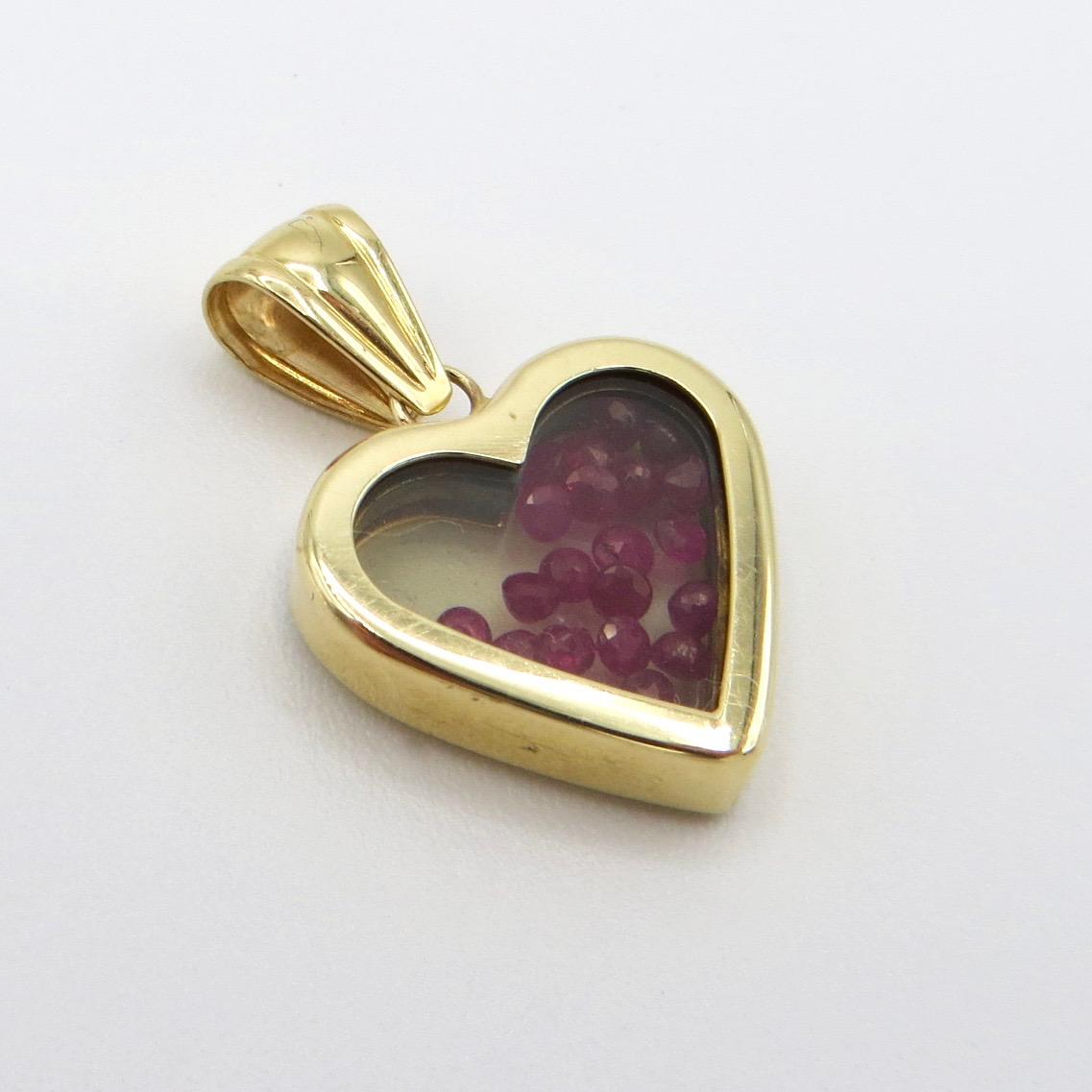 14kt Gold & Ruby Bead Heart Pendant