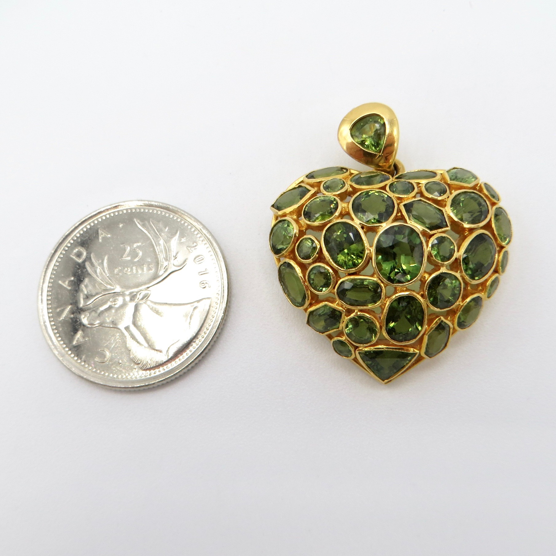 18kt Gold & Coloured Sapphire Heart Pendant