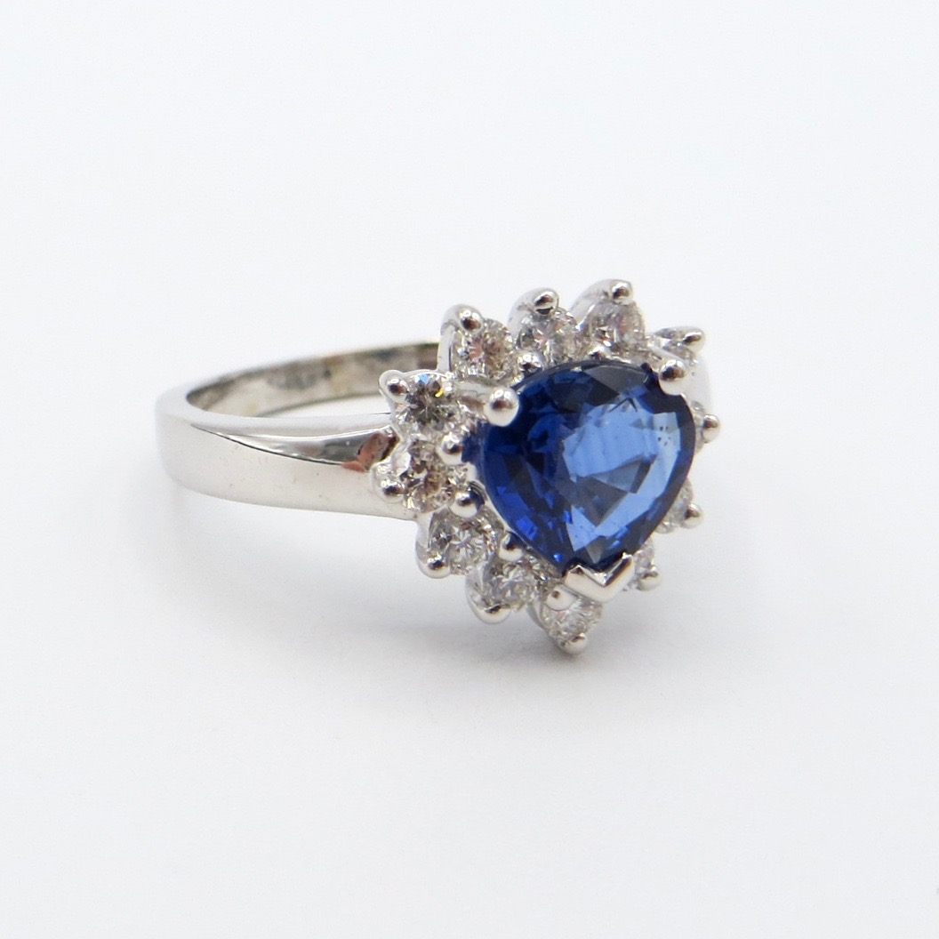 18kt White Gold, Sapphire & Diamond Heart Ring