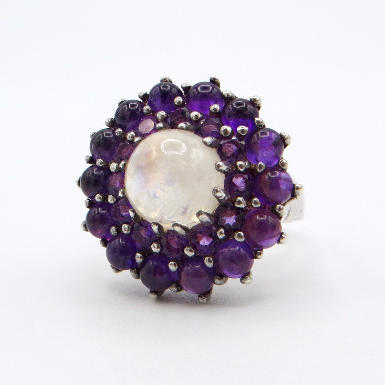 Moonstone & Amethyst Ring