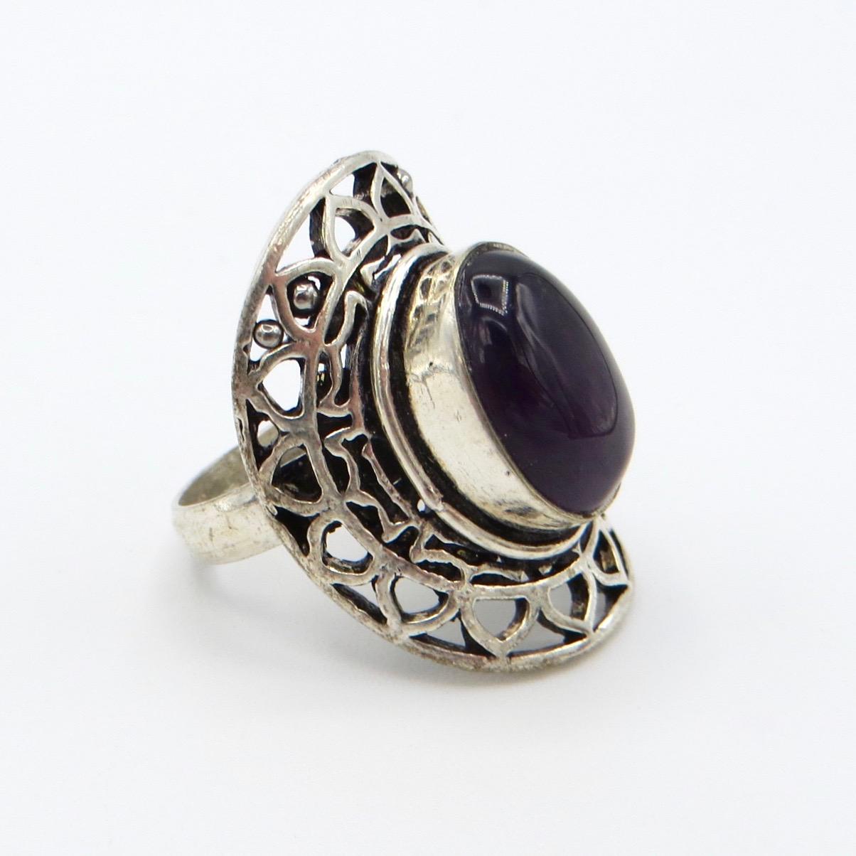 Silver & Amethyst Cabuchon Ring